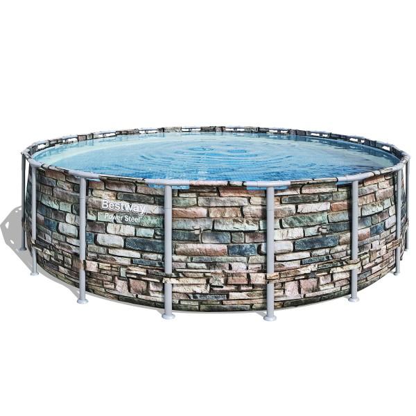 Bestway® Ersatzpool Power Steel ™ Framepool 549x132 cm, ohne Zubehör, rund, Steinoptik