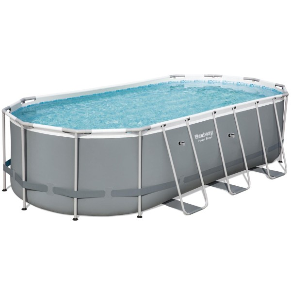 Bestway® Ersatzpool Power Steel™ Frame Pool, 549 x 274 x 122 cm, ohne Zubehör, oval, grau