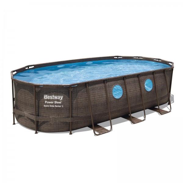 Power Steel™ Swim Vista Series™ Frame Pool, 549 x 274 x 122 cm, Komplett-Set mit Filterpumpe, oval,