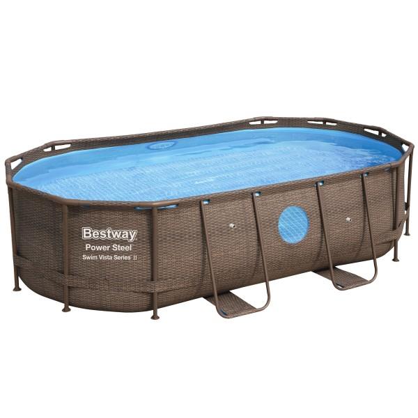 Bestway® Ersatzpool Power Steel™ Swim Vista Framepool 427x250x100 cm, ohne Zubehör, oval, Rattan