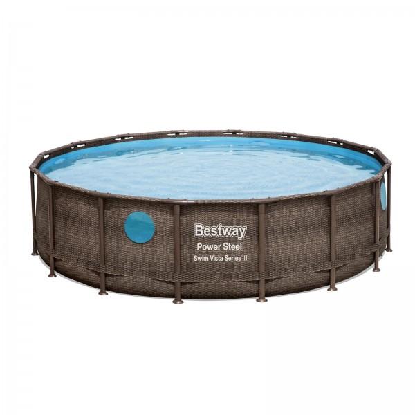 Power Steel™ Swim Vista Series™ Frame Pool, 488 x 122 cm, Komplett-Set mit Filterpumpe, rund, braune