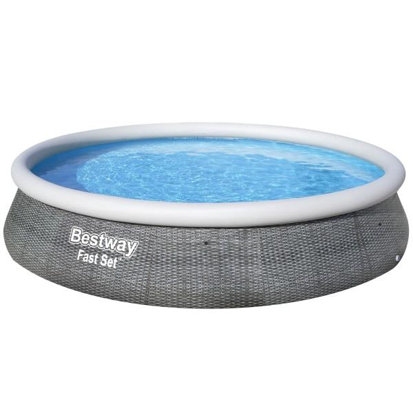 Bestway® Ersatzpool Fast Set™ Pool 396x84 cm, aufblasbar ohne Zubehör, rund, grau Rattanoptik