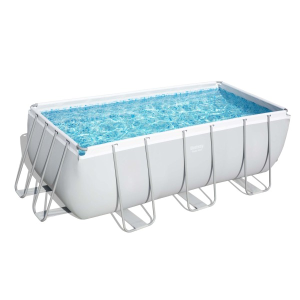 Power Steel™ Frame Pool, 412 x 201 x 122 cm, Komplett-Set mit Filterpumpe, eckig, grau