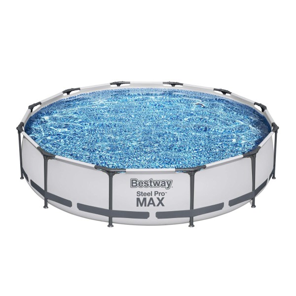 Steel Pro MAX™ Frame Pool, 366 x 76 cm, Set mit Filterpumpe, rund, weiß
